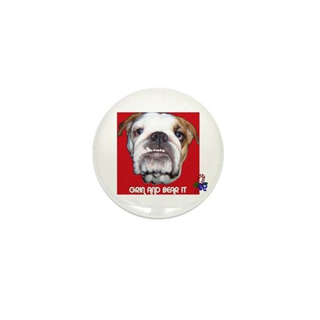 BULL DOG (CANDY CANE XMAS LOOK) Mini Button (100
