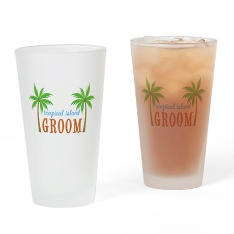 Groom Tropical Wedding Pint Glass