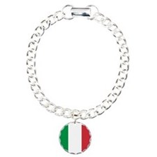 Italian National Flag Charm Bracelet, One Charm