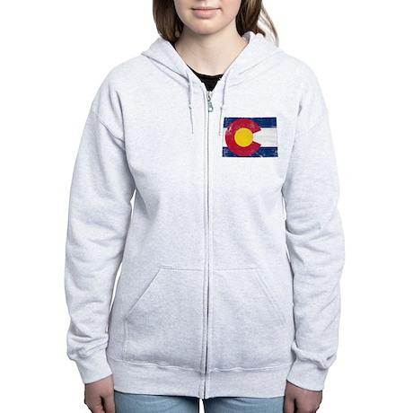 Colorado Flag Map Women's Zip Hoodie