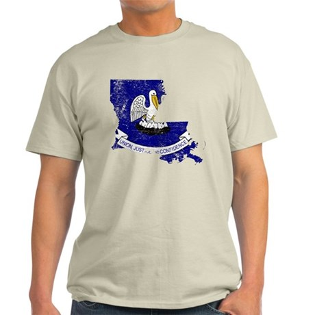 Louisiana Flag Map Light T-Shirt