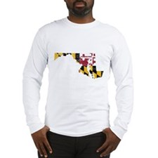 Maryland Flag Map Long Sleeve T-Shirt