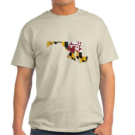 Maryland Flag Map Light T-Shirt