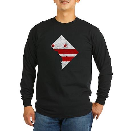 Washington DC Flag Map Long Sleeve Dark T-Shirt