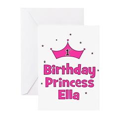 1st Birthday Princess ELLA Greeting Cards (Pk of 2