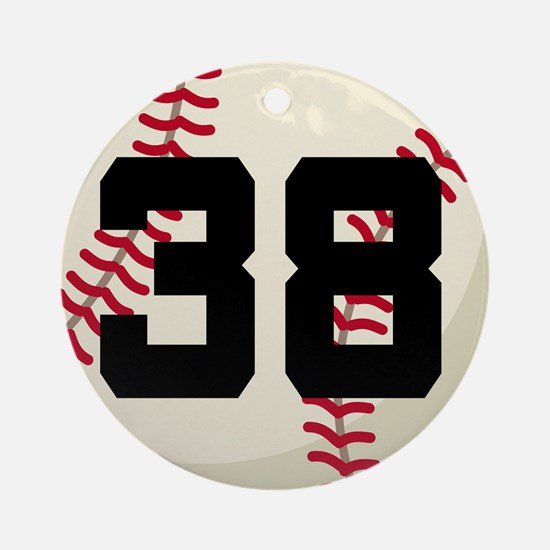 Baseball Player Number 38 Team Ornament (Round)