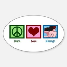 Peace Love Massage Sticker (Oval)