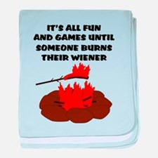 Someone Burns Wiener baby blanket