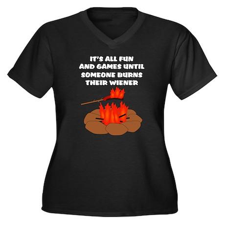 Someone Burns Wiener Women's Plus Size V-Neck Dark
