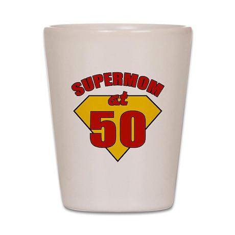 Supermom 50th Birthday Shot Glass