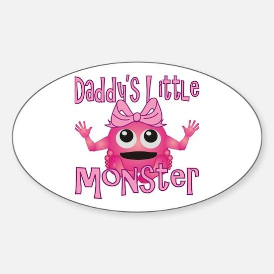 Girl Daddy's Little Monster Sticker (Oval)