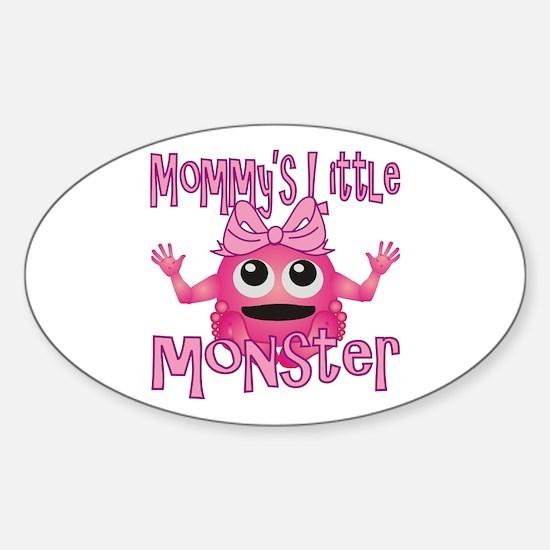 Girl Mommy's Little Monster Sticker (Oval)