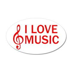 I LOVE MUSIC 38.5 x 24.5 Oval Wall Peel