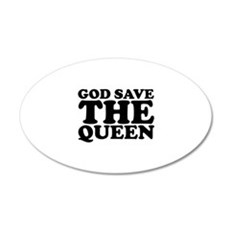 God Save the Queen (text: bla 22x14 Oval Wall Peel