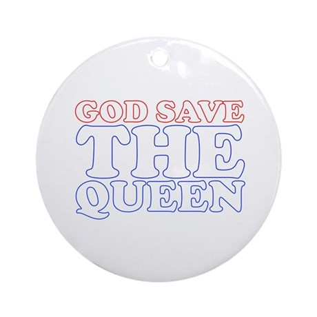 God Save the Queen (text: whi Ornament (Round)