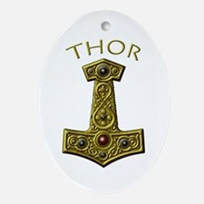 Thor's Hammer X-Gold - THOR Ornament (Oval)
