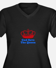 God Save the Queen (red/blue) Women's Plus Size V-