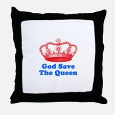 God Save the Queen (red/blue) Throw Pillow