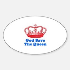 God Save the Queen (red/blue) Sticker (Oval)