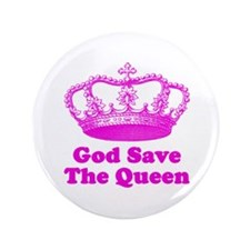 """God Save the Queen (pink) 3.5"""" Button"""