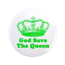 """God Save the Queen (green) 3.5"""" Button"""