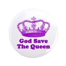 """God Save the Queen (purple) 3.5"""" Button"""