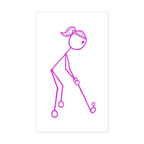 Pink Golfing Girl No Words Sticker (Rectangle)