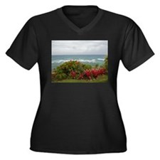 Hawaiian Coastline Women's Plus Size V-Neck Dark T