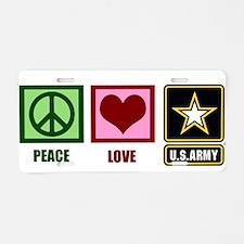 Peace Love Army Aluminum License Plate