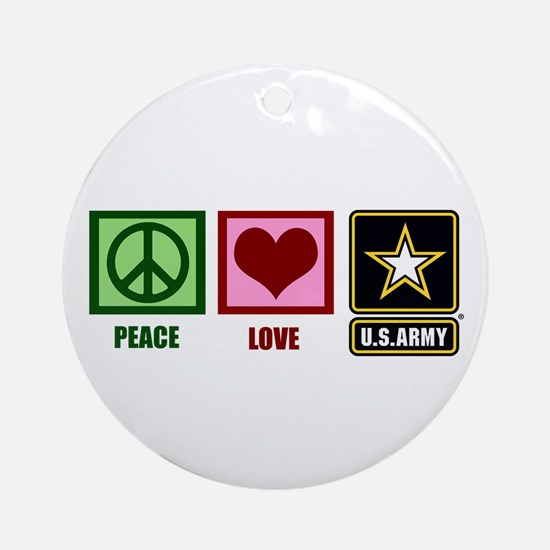 Peace Love Army Ornament (Round)