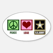 Peace Love Army Sticker (Oval)