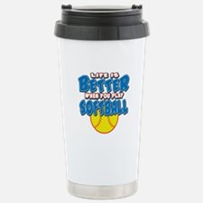 Girls Softball Stainless Steel Travel Mug