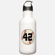 Baseball Player Number 42 Team Water Bottle