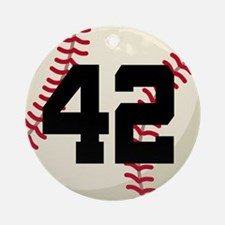 Baseball Player Number 42 Team Ornament (Round)