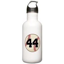 Baseball Player Number 44 Team Water Bottle