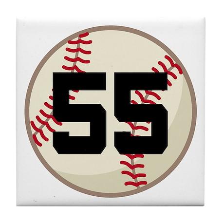 Baseball Player Number 55 Team Tile Coaster