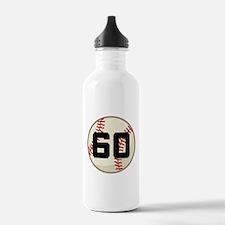 Baseball Player Number 60 Team Water Bottle