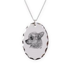 Chihuahua Necklace Oval Charm