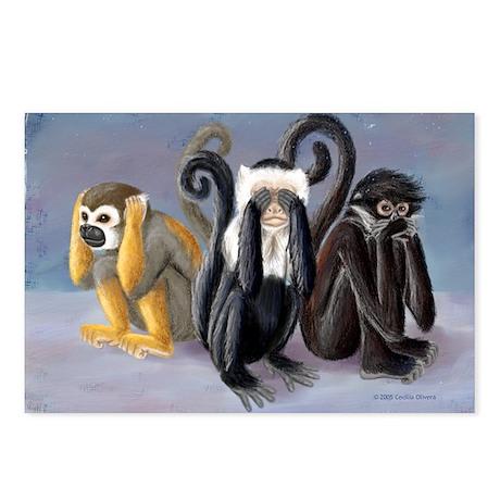 Three Monkeys Postcards (Package of 8)