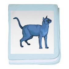 Russian Blue Cat Portrait baby blanket