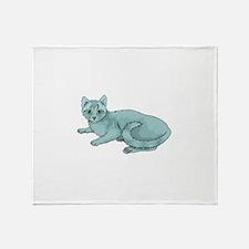 Russian Blue Cat Throw Blanket