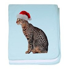 Savannah Cat Christmas baby blanket