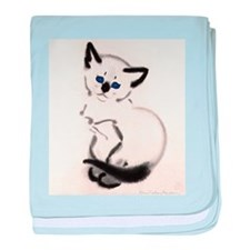 Siamese Cat Art baby blanket