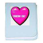 I Love My Tuxedo Cat baby blanket