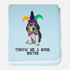 Beagle Mardi Gras baby blanket