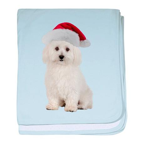 Bichon Frise Santa baby blanket