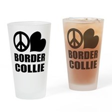 Peace Love Border Collie Pint Glass