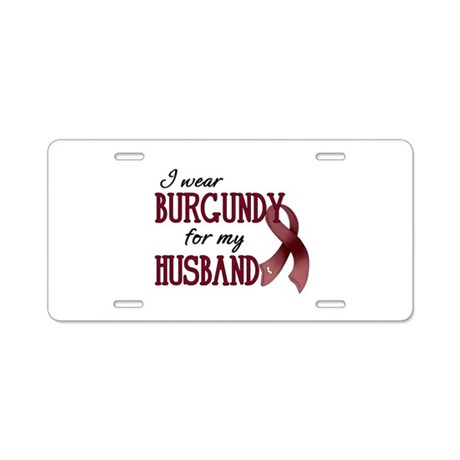 Wear Burgundy - Husband Aluminum License Plate