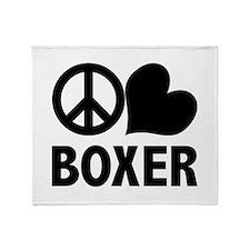 Peace Love Boxer Throw Blanket