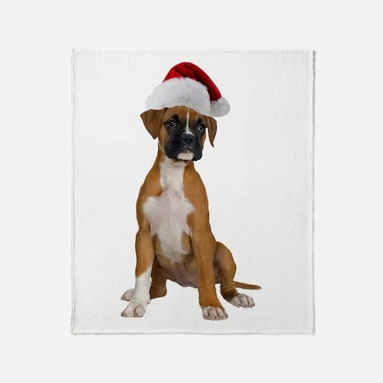 Santa Boxer Puppy Throw Blanket